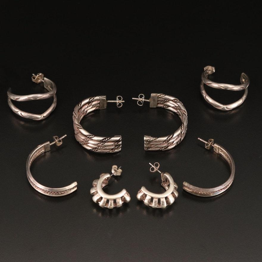 Sterling Half Hoop Earrings