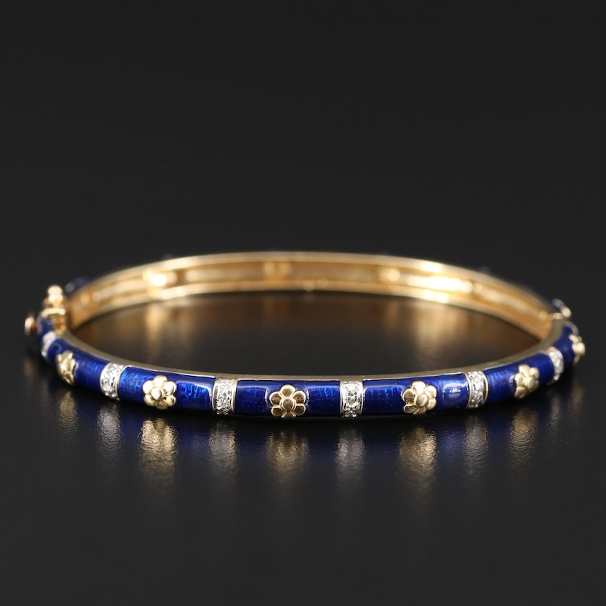 14K Diamond and Enamel Hinged Bangle with Flower Stations
