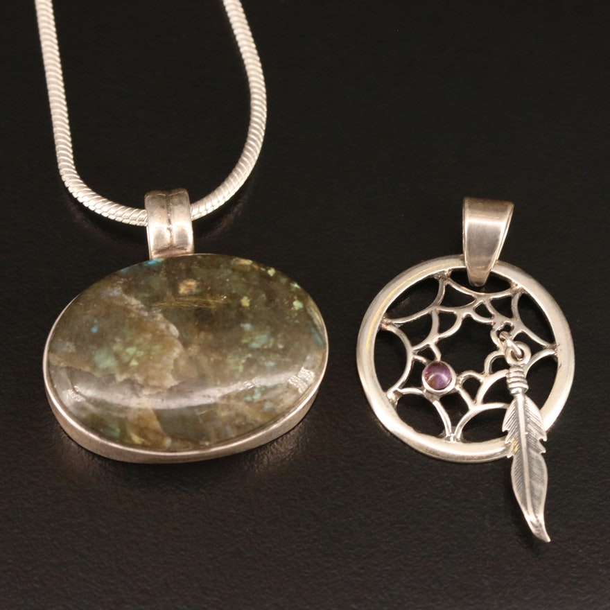 Sterling Silver Labradorite Pendant Necklace with Amethyst Dream Catcher Pendant