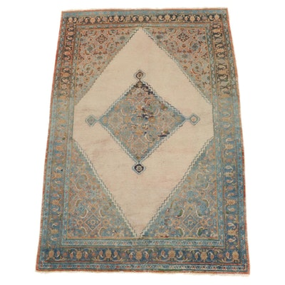 4'2 x 6'3 Hand-Knotted Persian Mahal Area Rug, Mid-20th Century