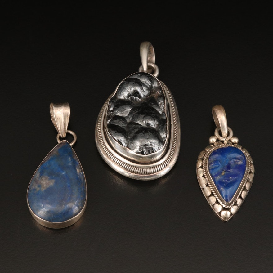 Sterling Pendants Including Hematite and Lapis Lazuli