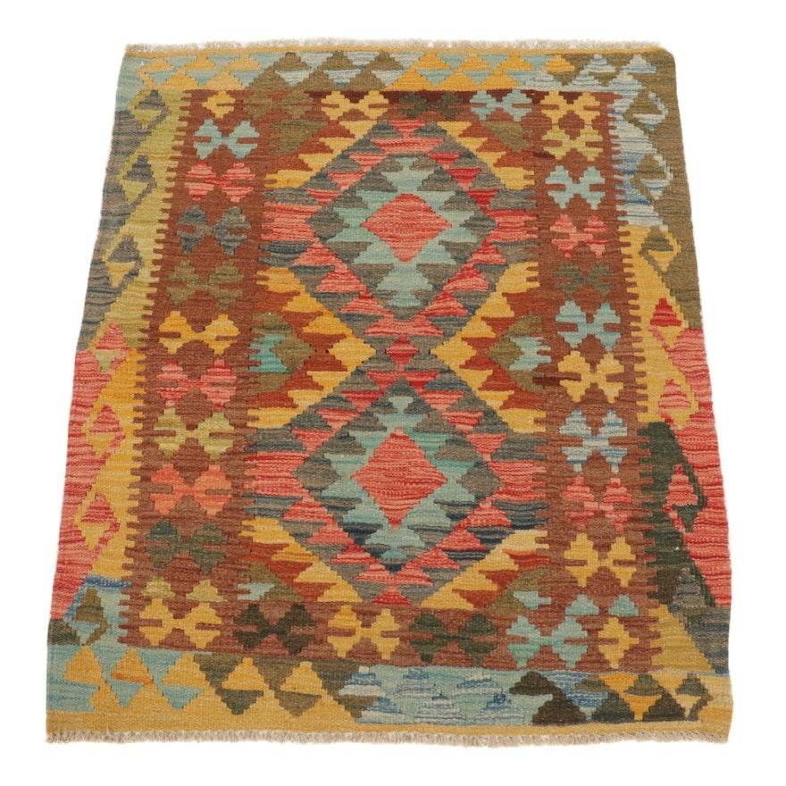 2'11 x 3'7 Handwoven Afghan Kilim Accent Rug