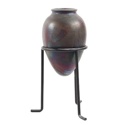 Raku Wheel Thrown Amphora Vase with Metal Stand