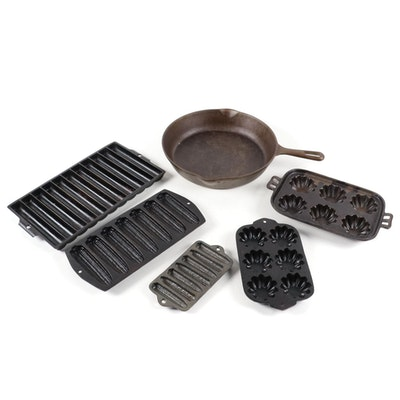 Griswold Cast Iron Cornbread Pan, Wagner Skillet and Other Cast Iron Bakeware