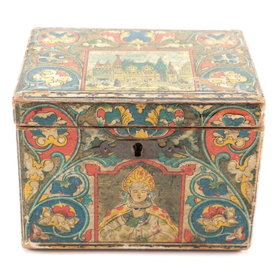 "Russian ""Peter Botkin's Sons"" Wooden Lacquer Tea Box, Late 19th Century"