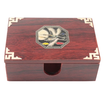 Korean Style Wood Box with Mother-of-Pearl Inlaid Crane Motif