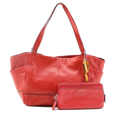 Coach Park Carrie Tote and Double Zip Wallet Clutch in Red Pebbled Leather