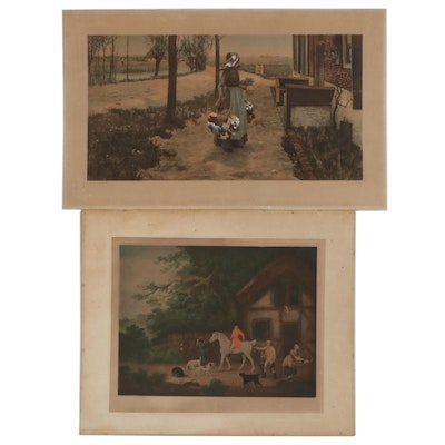 Hand-Colored Prints of Genre Scenes, Early 20th Century
