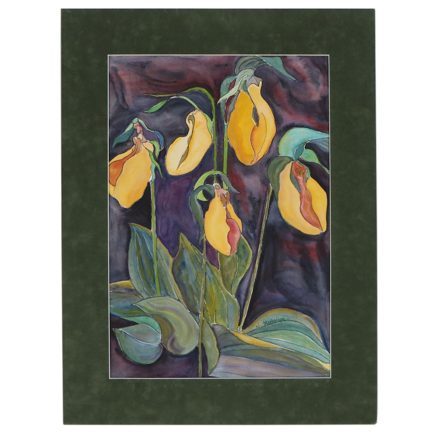 Watercolor Painting of Yellow Lady Slipper Flowers, Late 20th Century