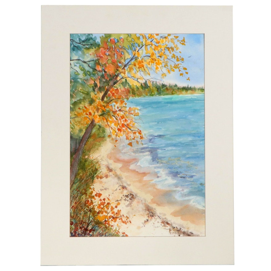 Gwendoline Gross Watercolor Painting of Shoreline, 1995