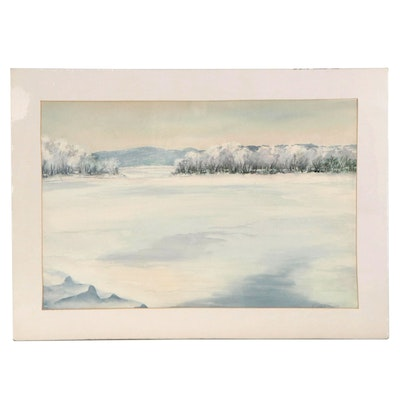 Cathy Smith Watercolor Painting of Winter Landscape, Late 20th Century