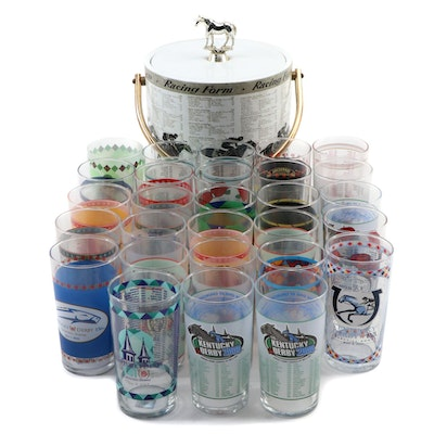 Horse Racing Form Lidded Vinyl Ice Bucket and Kentucky Derby Julep Glasses