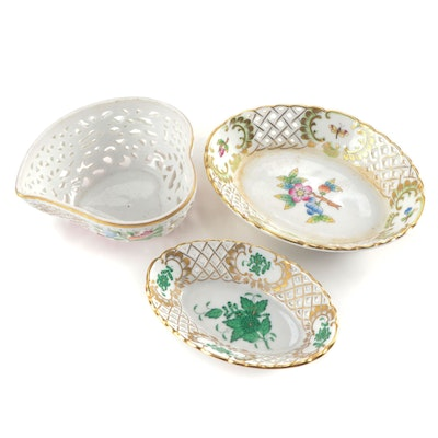 """Herend Green """"Chinese Bouquet"""" Trinket Dish with Other Herend Items"""