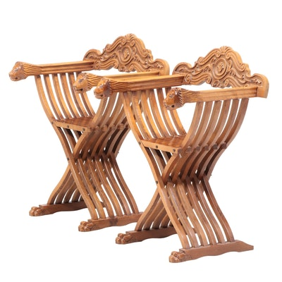 Pair of Renaissance Style Carved Walnut Savonarola Chairs, Mid to Late 20th C.