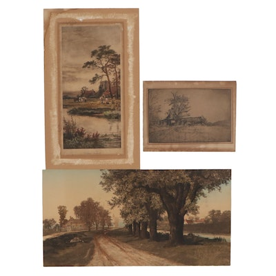 Landscape Hand-Colored Etchings and Lithograph, Early 20th Century