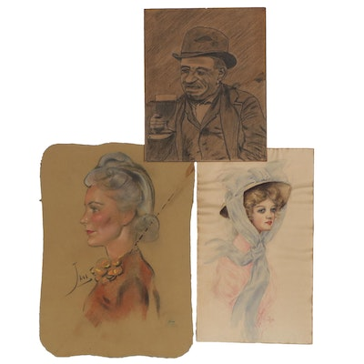 Mixed Media Portrait Compositions, Early-Mid 20th Century