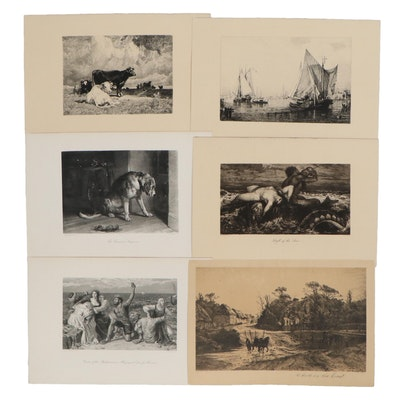 Etchings and Lithographs including Genre Scenes, Early to Mid 20th Century
