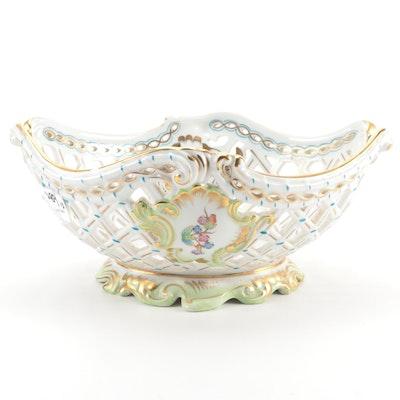 """Herend """"Queen Victoria"""" Porcelain Openwork Basket"""