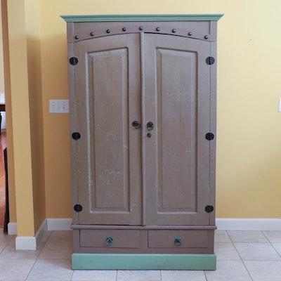 Vintage Painted Raised-Panel Cabinet