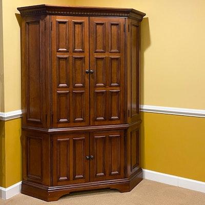 Corner Media Cabinet with Paneled Doors