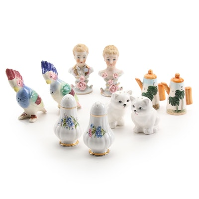Paragon and Other Bone China and Ceramic Salt and Pepper Shakers, Mid-20th C.