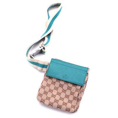 Gucci Double Belt Bag with GG Canvas Print and Turquoise Leather Trim