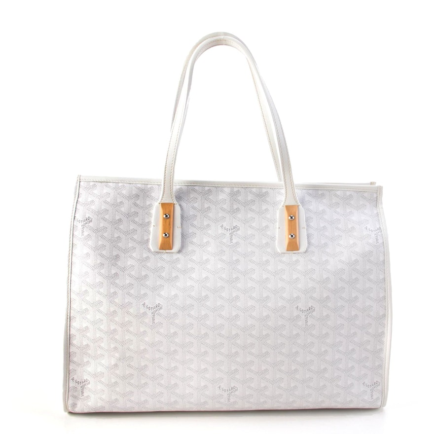 Goyard Marquises Tote Bag in Gray and White Chevron Print Coated Canvas