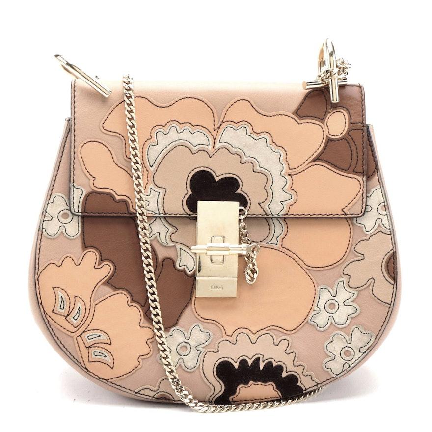 Chloè Drew Crossbody Bag in Floral Motif Patchwork Leather