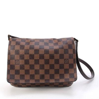 Louis Vuitton Musette Tango Bag in Damier Ebene Canvas