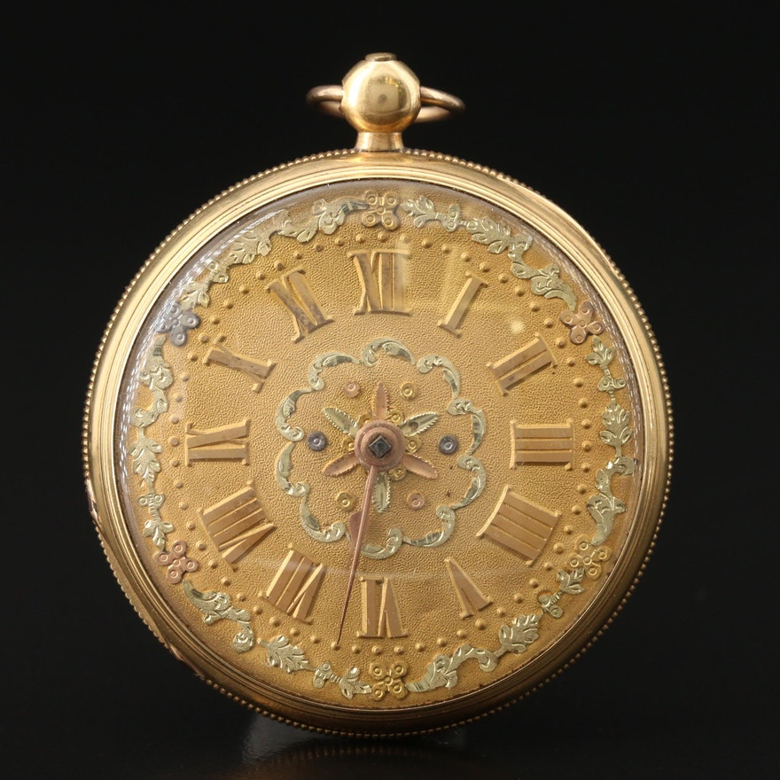 Antique 18K Yellow Gold Fusee Open Face Pocket Watch