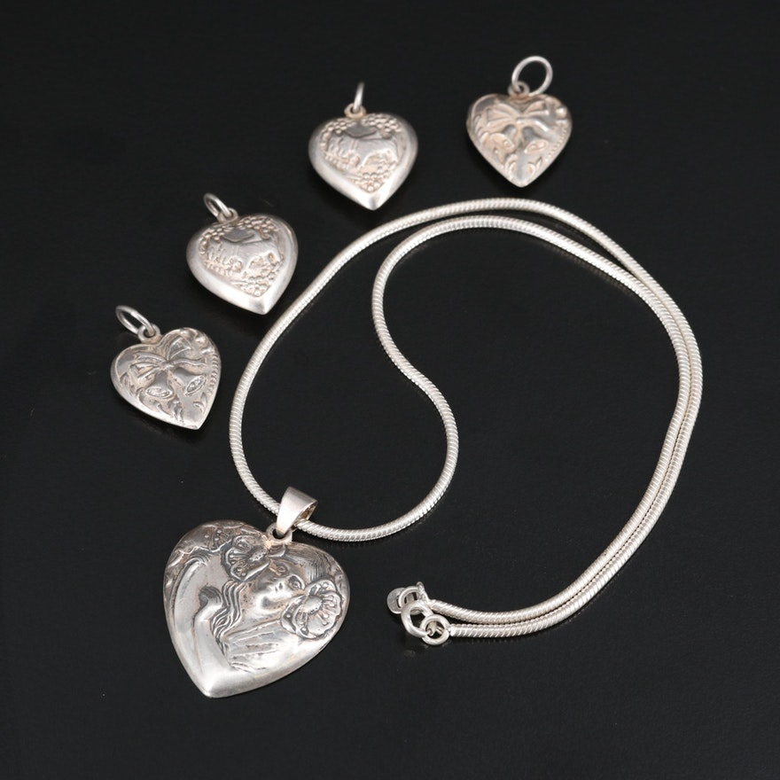 Sterling Silver Heart Necklace and Pendants with Woman, Bell and Dog Motifs