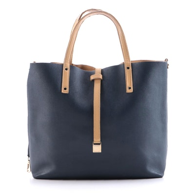 Tiffany & Co. Navy/Beige Reversible Leather Tote