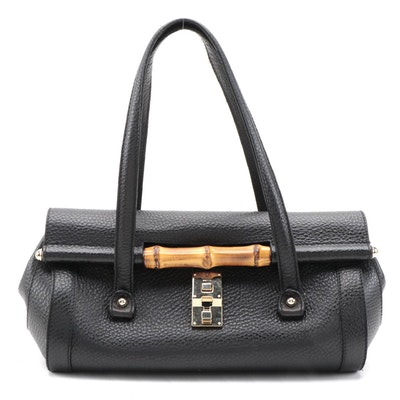 Gucci Bamboo Bullet Bag in Black Leather
