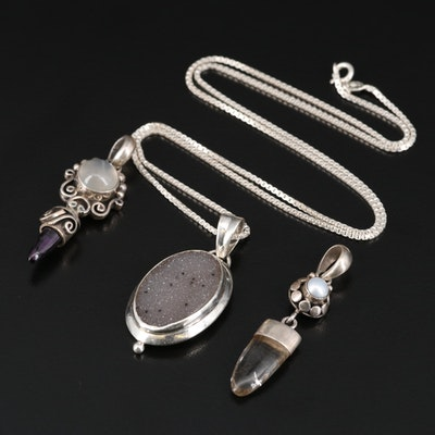 Sterling Necklace and Pendants with Moonstone, Druzy and Rutilated Quartz