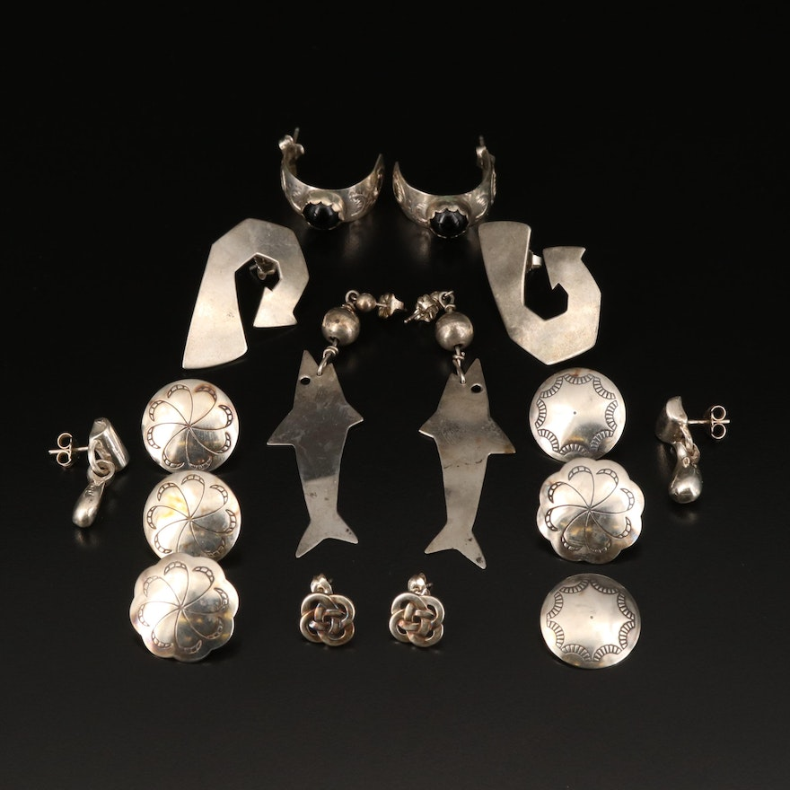 Sterling Earrings Including Black Onyx Half Hoops and Concho Style