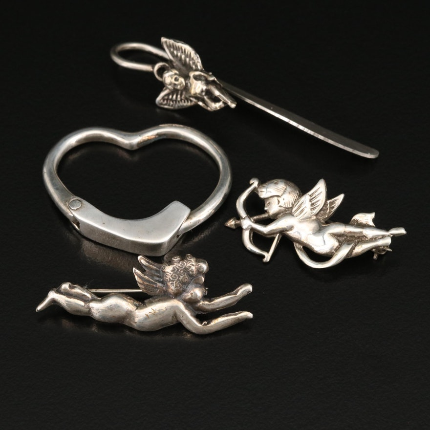 Cherub Sterling Brooches and Bookmark and Heart Key Ring