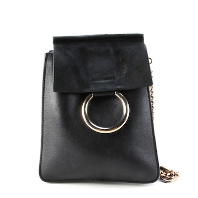 Chloé Faye Bracelet Crossbody Bag in Black Leather and Suede