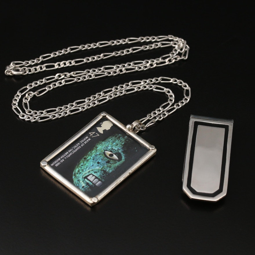 Sterling Money Clip and Mask Stamp Pendant on 950 Silver Chain Necklace