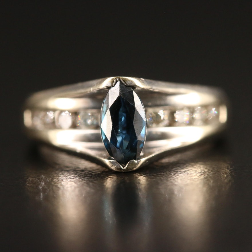 14K Tension Set Sapphire and Diamond Ring