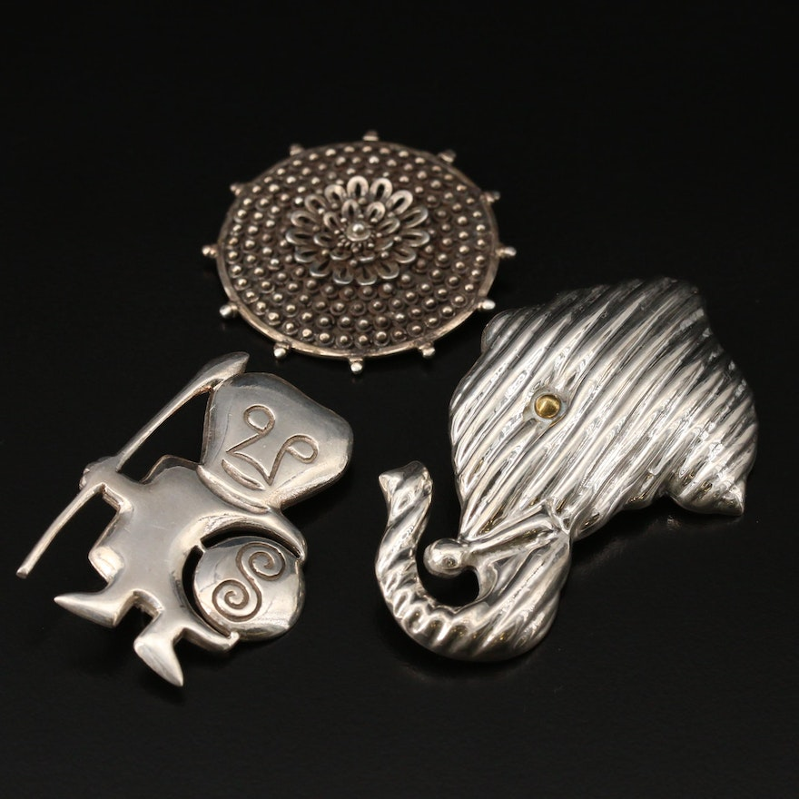 Sterling Brooches Featuring Stylized Elephant Converter Brooch