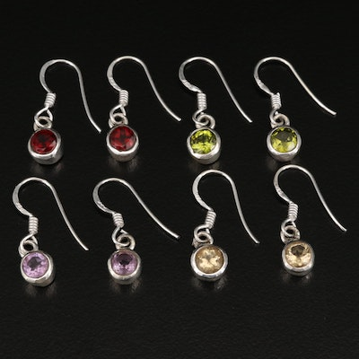 Sterling Dangle Earrings with Peridot and Garnet