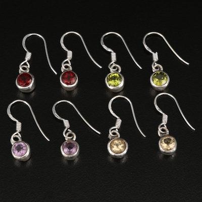 Sterling Dangle Earrings with Peridot and Garnet