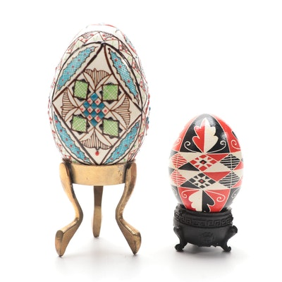 Pysanky Style Hand-Painted Eggs and Stands, Late 20th Century