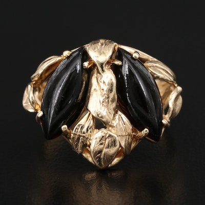14K Openwork Foliate Black Onyx Ring