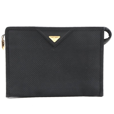 Yves Saint Laurent Black Embossed Coated Canvas and Leather Accessory Pouch