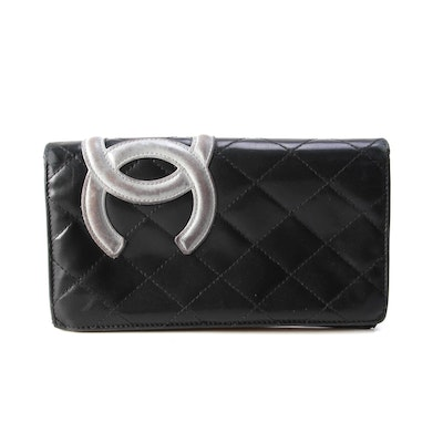 Chanel Black Ligne Cambon Long Wallet in Quilted Lambskin Leather