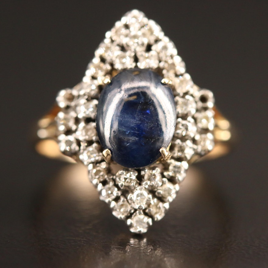 10K Sapphire and Diamond Navette Ring with Sterling Silver Settings