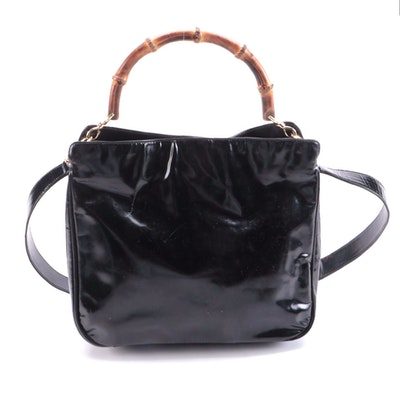Modified Gucci Bamboo Handle Two-Way Bag in Black Leather