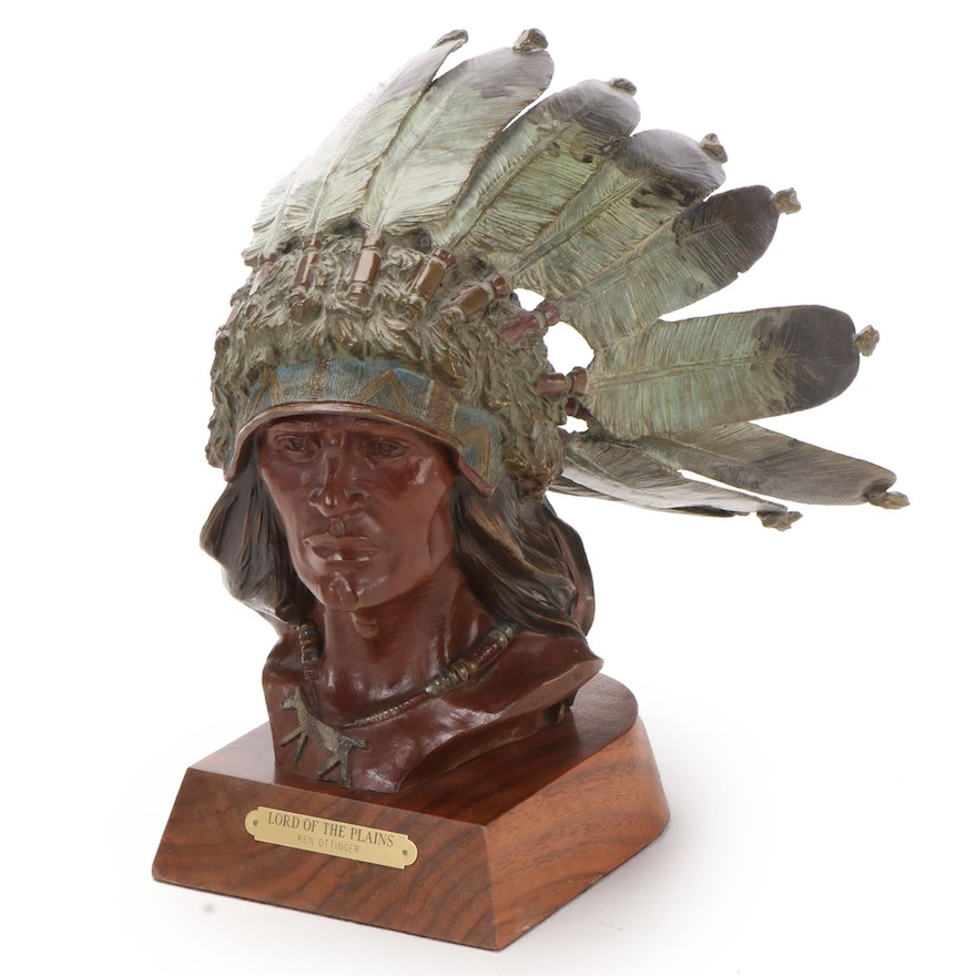 """Kenneth Ottinger Patinated Bronze Sculpture """"Lord of the Plains,"""" 1988"""