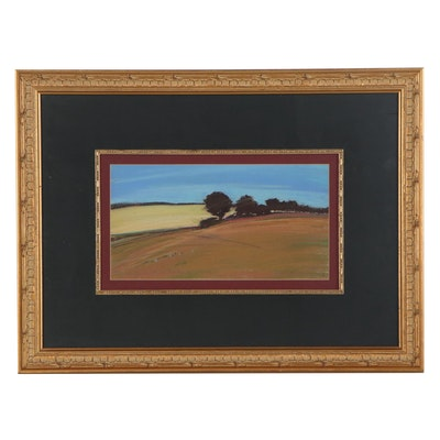 """C. Gay Petach Pastel Drawing """"Sunlight and the Fields of Summer,"""" 1984"""